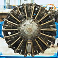 Propeller airplane engine star type of a Royalty Free Stock Image