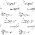 Propeller airplanes seamless pattern Royalty Free Stock Photo