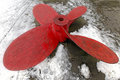 Propeller big red with four blades from ship Royalty Free Stock Photo
