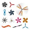 Propeller fan vector illustration fan propeller wind ventilator equipment air icon blower cooler set rotation technology