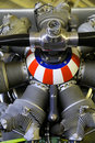 Propeller red white and blue aircraft Royalty Free Stock Images