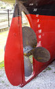 Propeller and rudder of ship screw a taken out sea Stock Photo