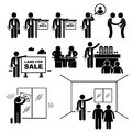 Property agent real estate client customer a set of pictograms representing trying to sell estates to Royalty Free Stock Photography