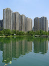 Property in chengdu modern housings with lake china Royalty Free Stock Photography