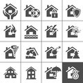 Property insurance icons icon set vector illustration simplus series Royalty Free Stock Photo