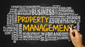 Property management with related word cloud handwritten on black Royalty Free Stock Photo