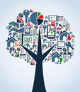 Property service icons tree Stock Image