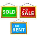 Property signs sale rent and sold on a white background Stock Photography