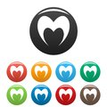 Prophetic heart icons set color vector Royalty Free Stock Photo