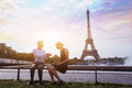 Proposal at Eiffel Tower Royalty Free Stock Photo