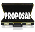 Proposal sales presentation open briefcase the word in an to share a during a call by a salesperson Royalty Free Stock Photo