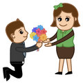 Proposing a girl with flower bunch drawing art of young boy presenting of flowers to and vector illustration Stock Image