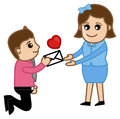 Proposing a girl with a love letter conceptual drawing art of young boy vector illustration Stock Photo