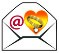 Proposing marriage by email concept of modern matchmaking dating or online wedding per Royalty Free Stock Images