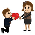 Proposing a woman cartoon character conceptual drawing art of young boy Stock Photography
