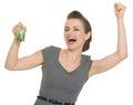 Proprietário Excited com as teclas HOME isoladas Imagens de Stock