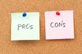 Pros and cons written on paper pinned on corkboard Royalty Free Stock Images