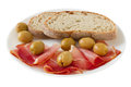 Prosciutto with bread Royalty Free Stock Photos