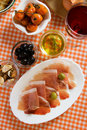 Prosciutto di Parma, italian appetizer Royalty Free Stock Photos