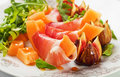Prosciutto di parma salad with melon and figs Royalty Free Stock Photos