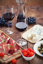 Prosciutto wine cheese and olives Royalty Free Stock Photo