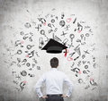 A prospective student is pondering over the advantages of education concept further business Stock Images