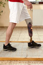 Prosthesis wearer training on diverse surfaces Royalty Free Stock Photos