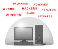Protect computer desktop with force field against viruses Stock Images