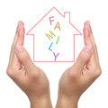 Protect dream house two hands and with family on white background Stock Image