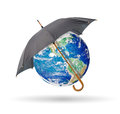 Protect earth black umbrella isolated on white Stock Image