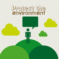 Protect the environment over white background illustration Royalty Free Stock Images