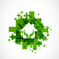 Protect house abstract design green background Stock Image