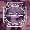 Protect information concept vintage design purple background made of triangles Stock Photos