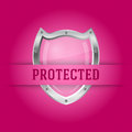 Protect silver shield on the pink background vector Stock Images