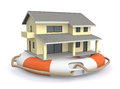 Protect your home one lifesaver with a house concept of protection d render Royalty Free Stock Image