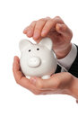 Protect your money concept two man s hands covering small white piggy bank isolated on white background Stock Image