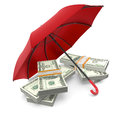 Protect your moneys stacks of banknotes under an umbrella concept of security and protection d render Stock Photo