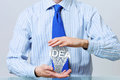 Protect your success ideas hands of businessman holding with care idea concept Royalty Free Stock Photography