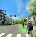 Protected Bike Lane in City Street Royalty Free Stock Photo