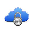 Protected cloud computingservice and padlock computing service concept vector illustration of computer server Royalty Free Stock Photography