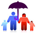 Protected family under an umbrella concept Royalty Free Stock Photography