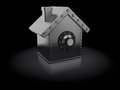 Protected house abstract d illustration of shaped safe over black background Royalty Free Stock Images