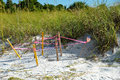 Protected turtle nest on the beach of anna maria florida Stock Photo