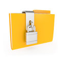 Protected yellow folder with lock on white d illustration Stock Photos