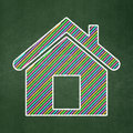 Protection concept home on chalkboard background icon green d render Royalty Free Stock Image