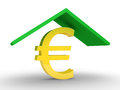 Protection of euro a roof is protecting a symbol Stock Photo