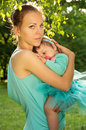Protection mother hugs baby Royalty Free Stock Photo