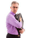 Protection senior business man care and holding briefcase Royalty Free Stock Photos
