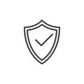 Protection shield with check mark line icon, outline vector sign, linear style pictogram isolated on white. Symbol, logo illustrat