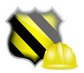 Protection shield under construction illustration design over a white background Royalty Free Stock Photos